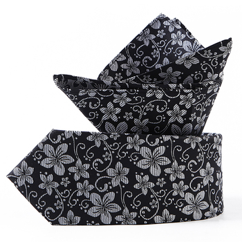 Novelty Black Flower Tie White Silk Hanky Sets Men's 100% Silk Cravatta Ties For Men Formal Party Groom