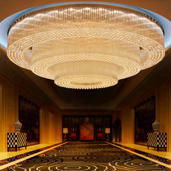 Extra large circular hotel lobby banquet ceiling lighting project extra large circular hotel lobby banquet ceiling lighting project customized huge silver crystal chandelier for hall aloadofball Choice Image