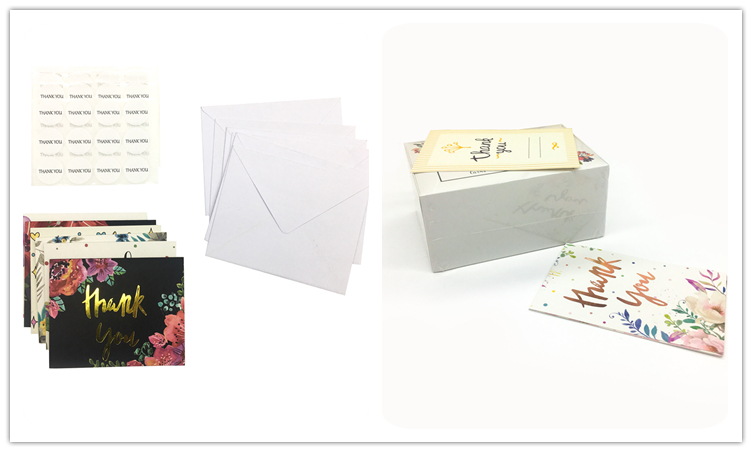 100 Pack Customized Gold Wedding Thank You Cards With Envelopes
