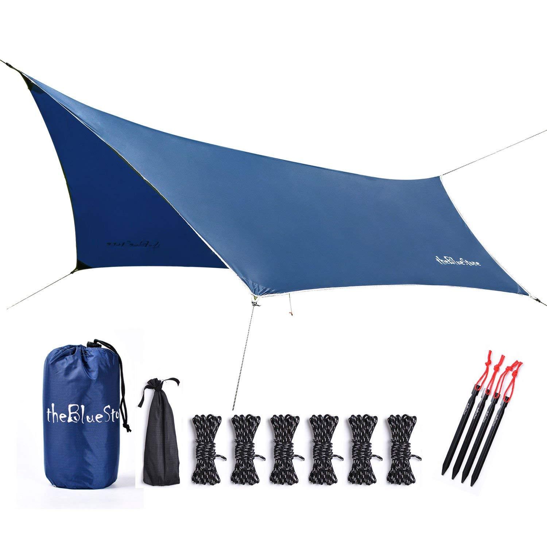 theBlueStone 9 x 11 feet Hammock Rain Fly Tent Tarp (Navy Blue) - Shelter for Camping, Hiking, Backpacking - Lightweight Nylon Ripstop Rain Tarp