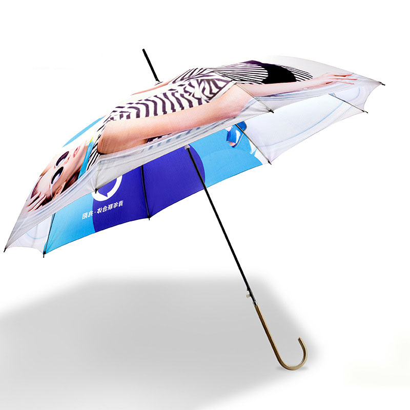 Color promotional blue white rain Stick Straight Umbrella beach sexy girl printing