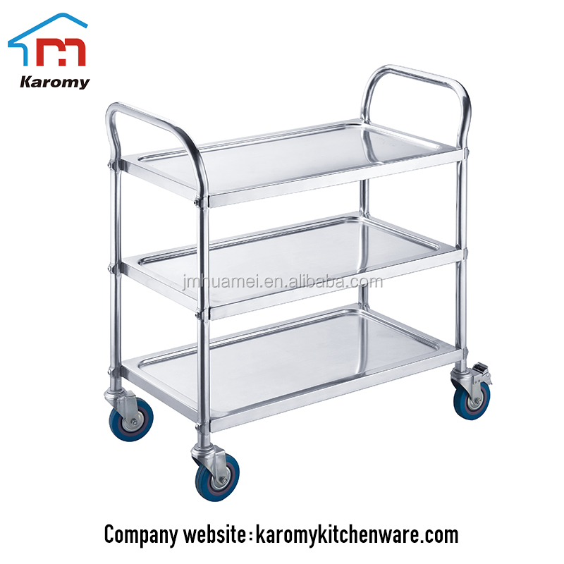 Heavy duty 3 tiers stainless steel room food service trolley, food transport trolley