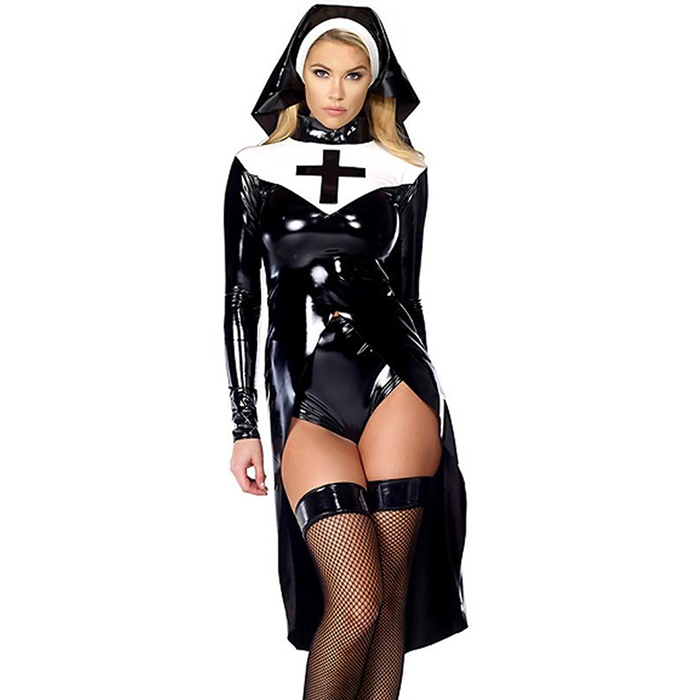 Wonder Beauty Women Wet Look Vinyl Adult Sexy Leather Role Play Halloween Nun Costume with Hat