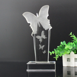Wholesale crystal glass butterfly award trophy
