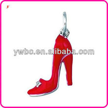 Beautiful Red Enamel Ladies Pump shape Alloy Jewelry charm