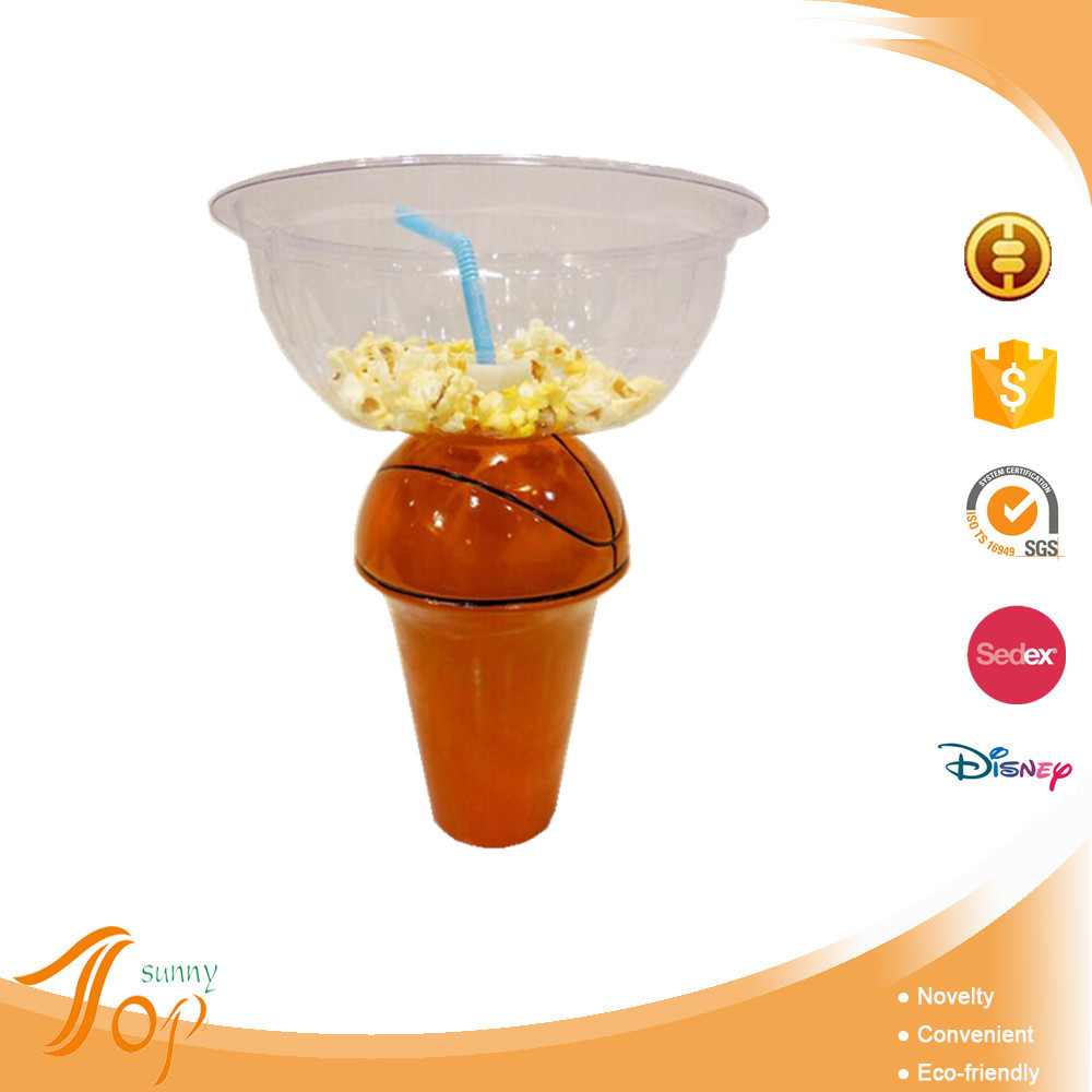 Promotional basketball design personalized PET plastic salad bowl with drink bottle