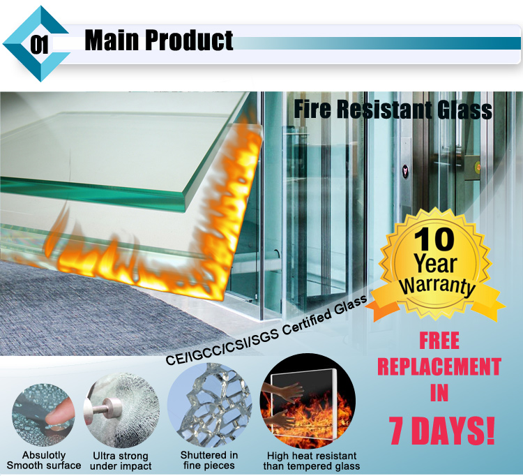 Safety Fire Resistant Glass / Fireproof Glass / Fire Rated glass