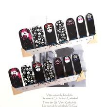 Black Skulls Designs Nail Art Sticker Patch 14 pcs set Waterproof Decals Foils Gel Polish French