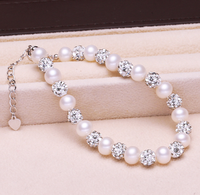 Pearl Jewelry Crystal Bracelet Real Genuine Natural Freshwater Pearl 925 Sterling Silver Women Pearl Bracelet