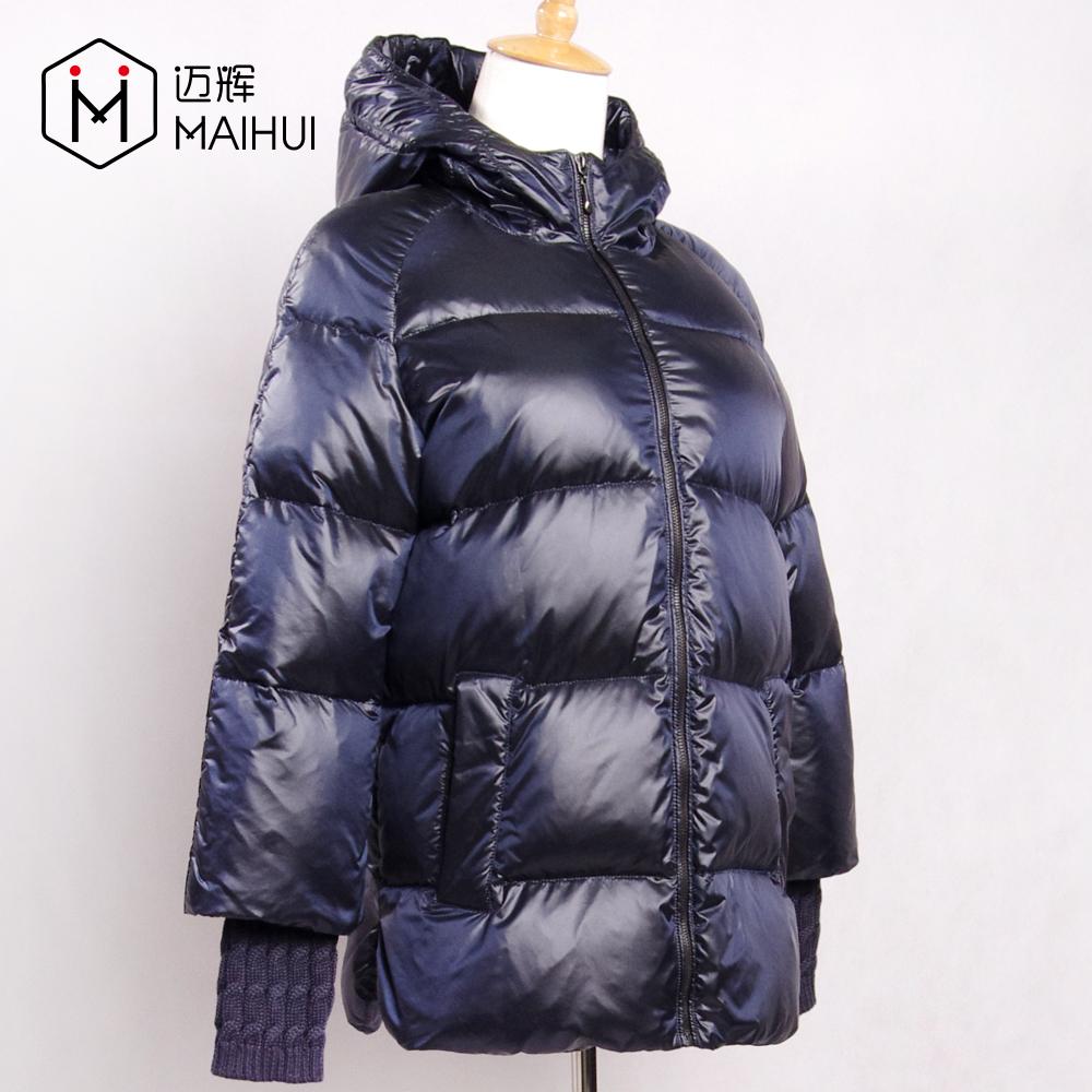 Son Tasarım Polyester Windproof Kış Ceket Parlak Kumaş Yüzey Aşağı Ceket