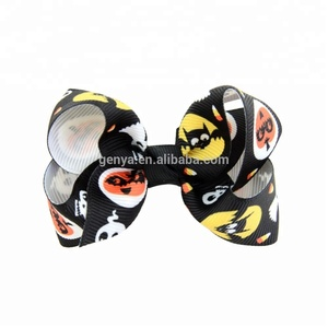 New Stylish Halloween Fabric Children Bow Knot Hair Clips Multi-patterns Ghost Spider Pumpkin Cat Skull Decorate Jewelry