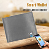Genuine leather bluetooth anti-theft alarm smart phone wallet for men