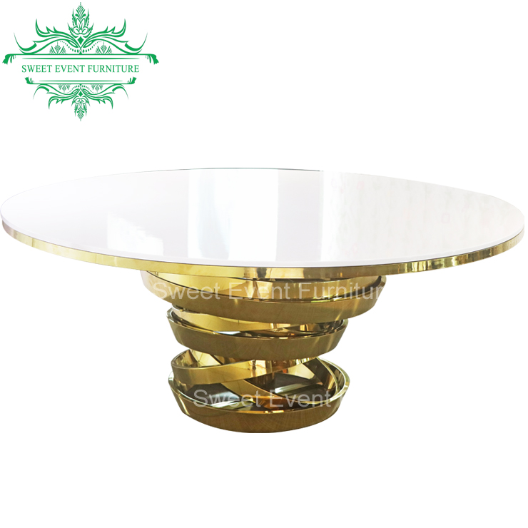 Special 8ft round event dining table with tempered glass table