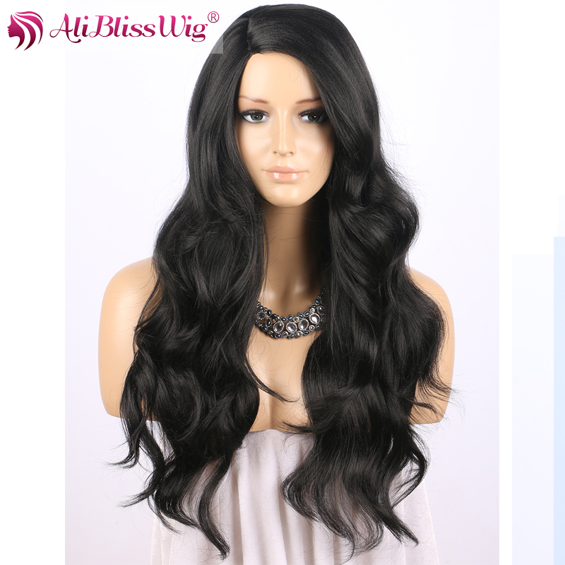 22 Long Heat Resistant Fiber Hair Natural Wavy Fix Side Deep Parting 1B Black Lace Synthetic L Shape Wig for Black Women фото