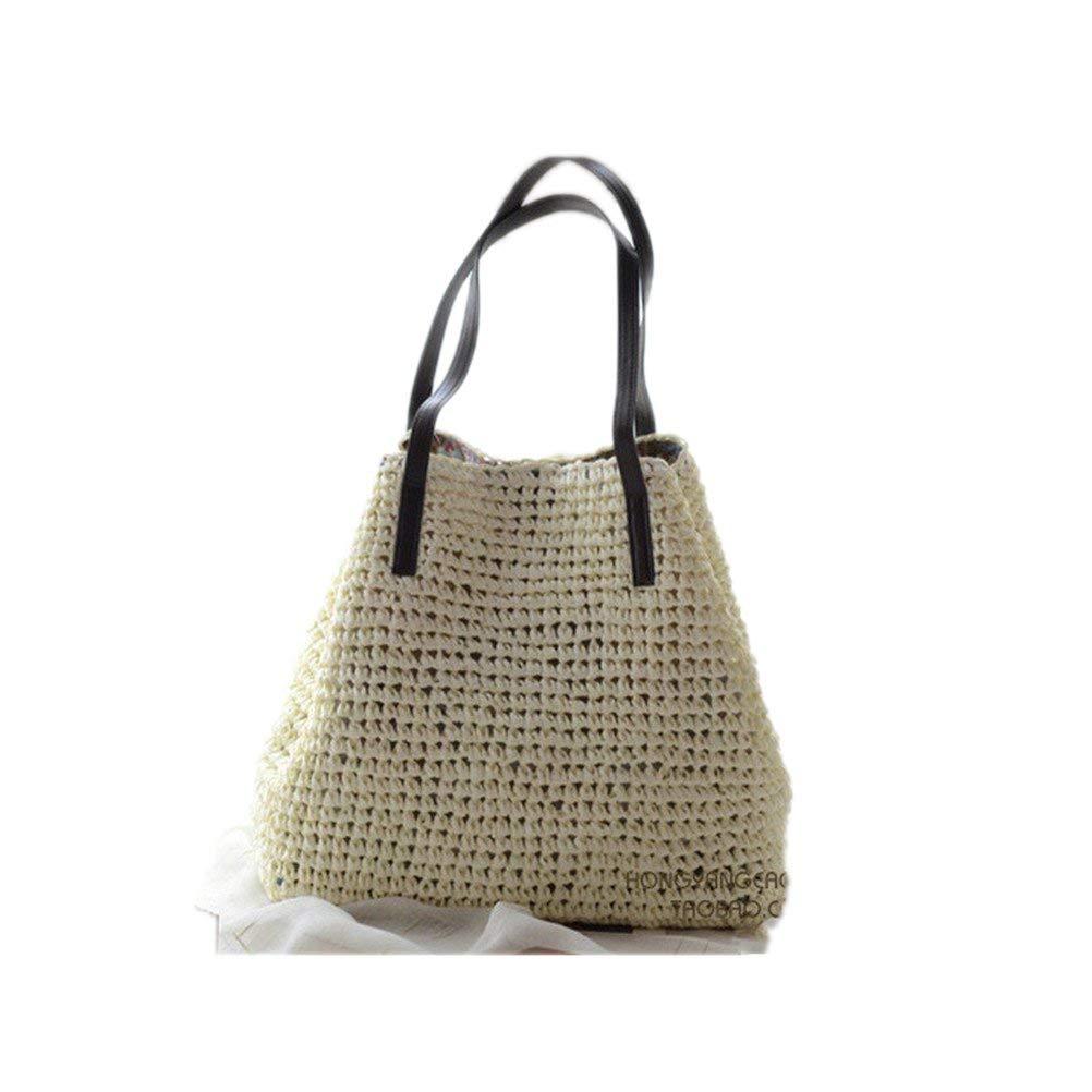 Get Quotations · Kimiyar Summer Women Durable Weave Straw Beach Linen Woven  Bucket Grass Casual Tote Handbags Rattan Bags 260a05826b16