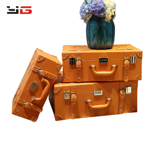 Manufacture wooden leather vintage decorative suitcase handcraft with lower price and good quality