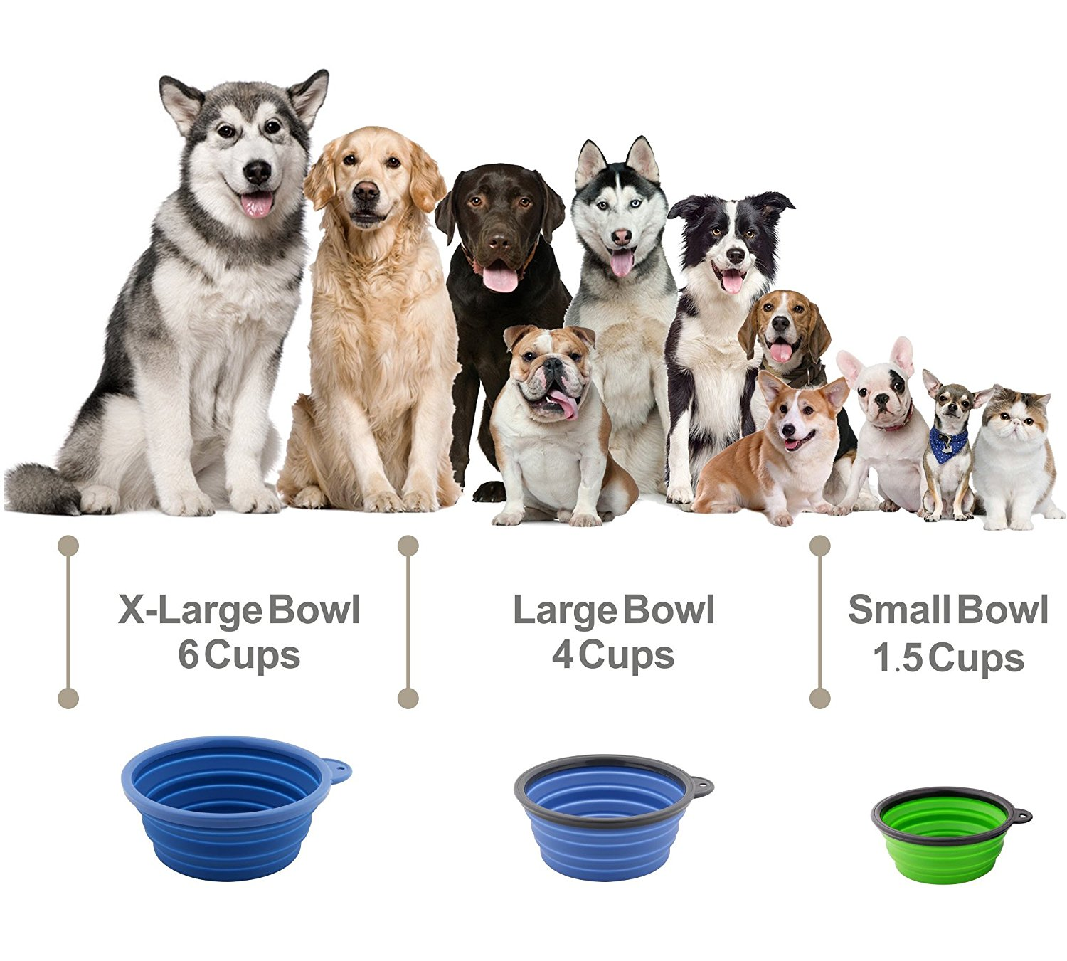1000 ml Portabel Travel Food Grade Silicone BPA Free Air Diupgrade Lipat Dilipat Pet Kucing Makanan Anjing Feeding Bowl