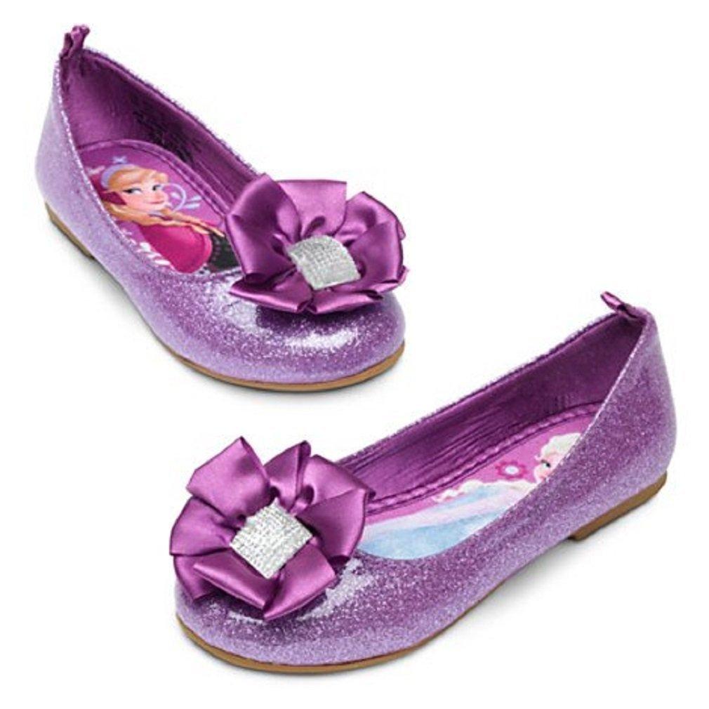 7da482c9679 Disney Store Frozen Anna Elsa Purple Glitter Ballet Flat Shoes Slippers Size  9