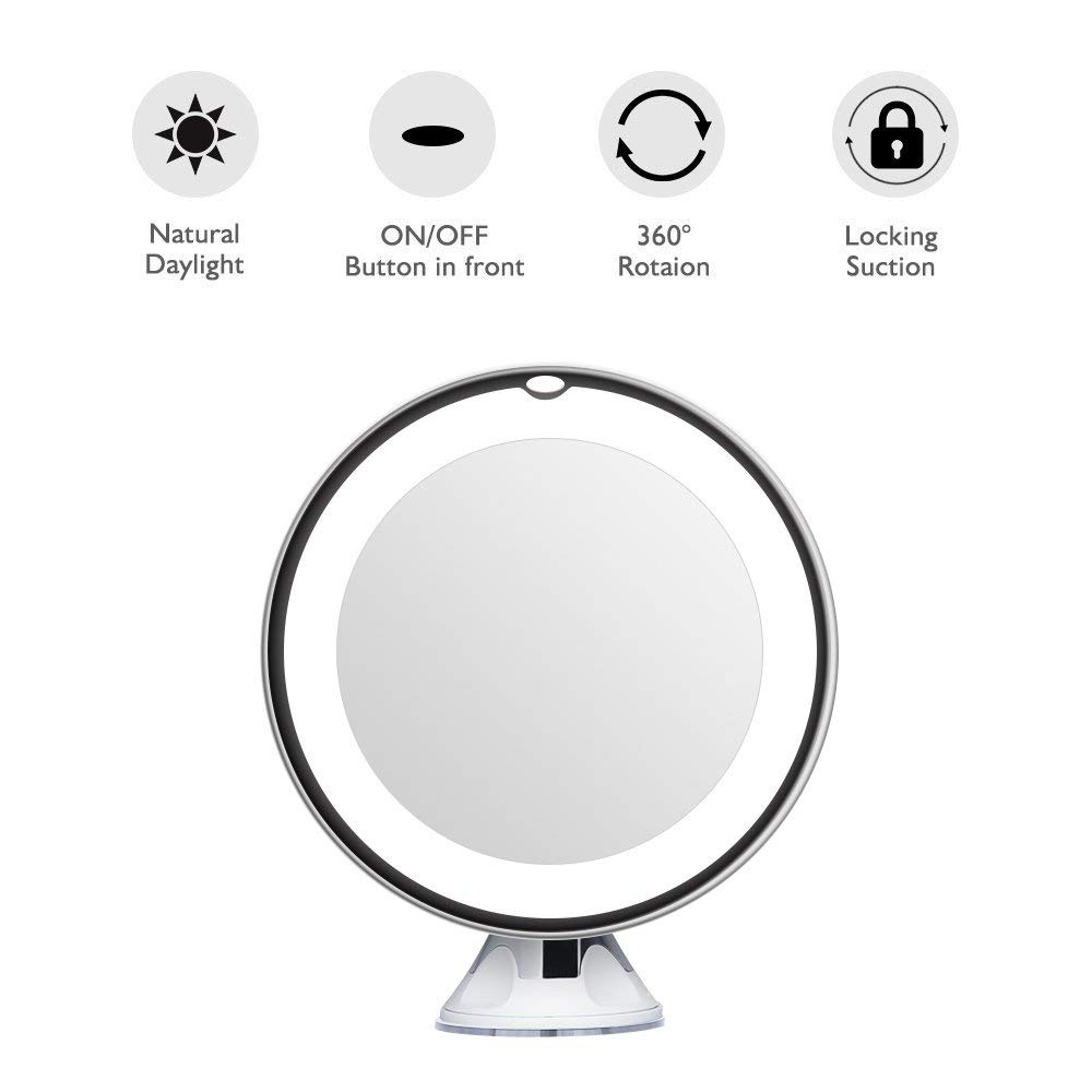 Anti-Fog Plastic Round Side 5x Magnifying LED Light Wall Led Suction Cup Shaving Mirror