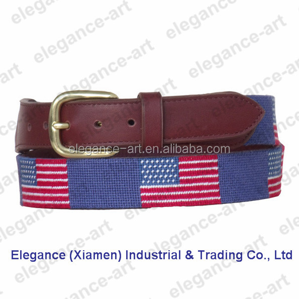 Hot-Selling Handmade American Flag Needlepoint Belt with Genuine Cowhide Leather