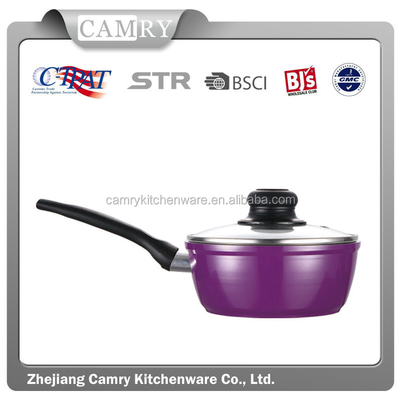 18cm, 1.5QT induction forged aluminum sauce pan with glass lid, cookware