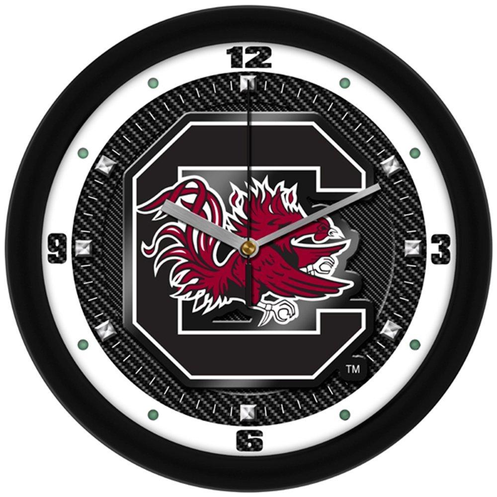 "South Carolina Gamecocks Logo 12""Glass Crystal Carbon Fiber-Textured Graphic Wall Clock"