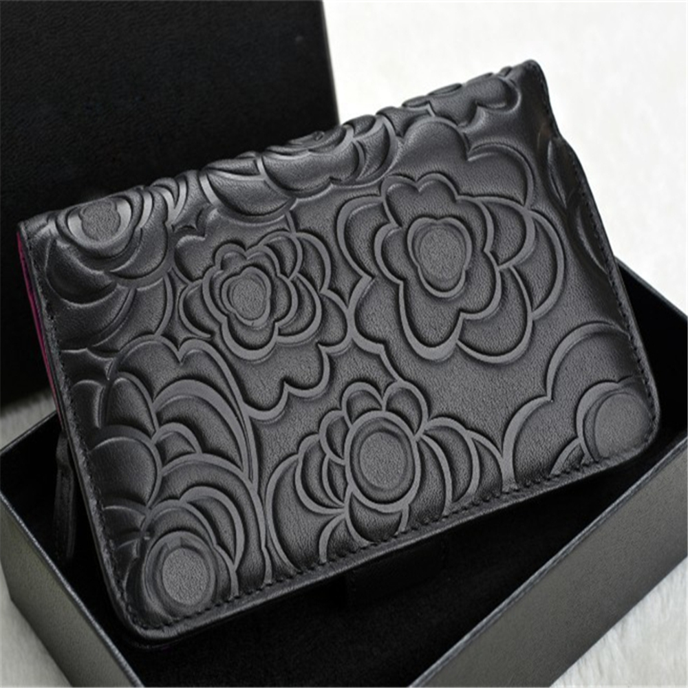 wholesale 2017 latest model fashion camellia pattern lambskin woman cheap branded design wallet