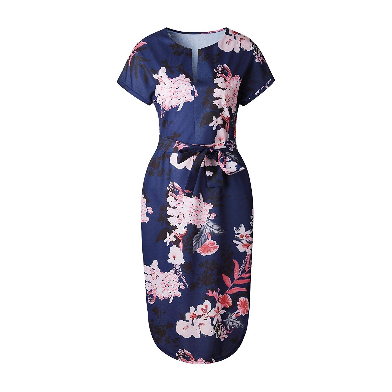 LePeng Womens Dresses Summer Casual V-Neck Floral Print Belted Dress