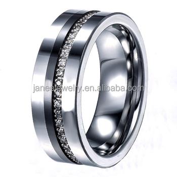 Luxury Men Finger Ring Cnc Channel Setting Cz Stones Tungsten