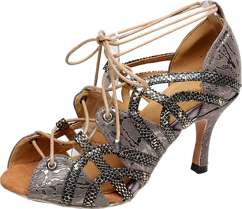 Salabobo Ladies 5017 Sexy Peep Toe Lace Up Dance Shoes Latin Tango Cha-Cha Swing Ballroom Party Wedding Sole 3IN Mid Heel PU Shoes Grey US 10.5 Outdoor