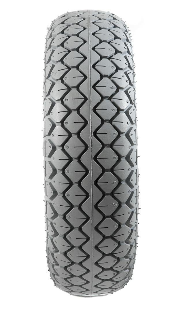 2 Grey Air Filled Pneumatic Block Tread Mobility Scooter Tyres 330x100 (4.00-5)