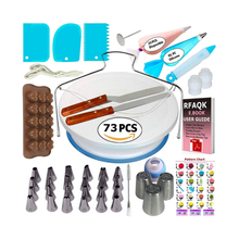 Amazon heet verkoop 34/42/73/80/124 pcs cake decorating roterende cake stand draaitafel <span class=keywords><strong>kit</strong></span> <span class=keywords><strong>bakken</strong></span> tools met icing piping tips set