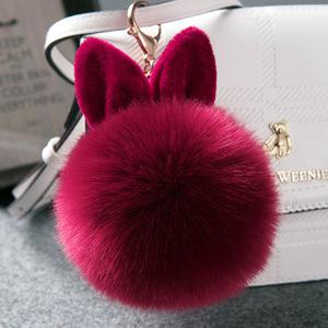 d6e2dfdb5 Rabbit Furs Ball Key Chain Porte Clef Pompom Fluffy Fur Pom Pom Keychains  For Women Bag
