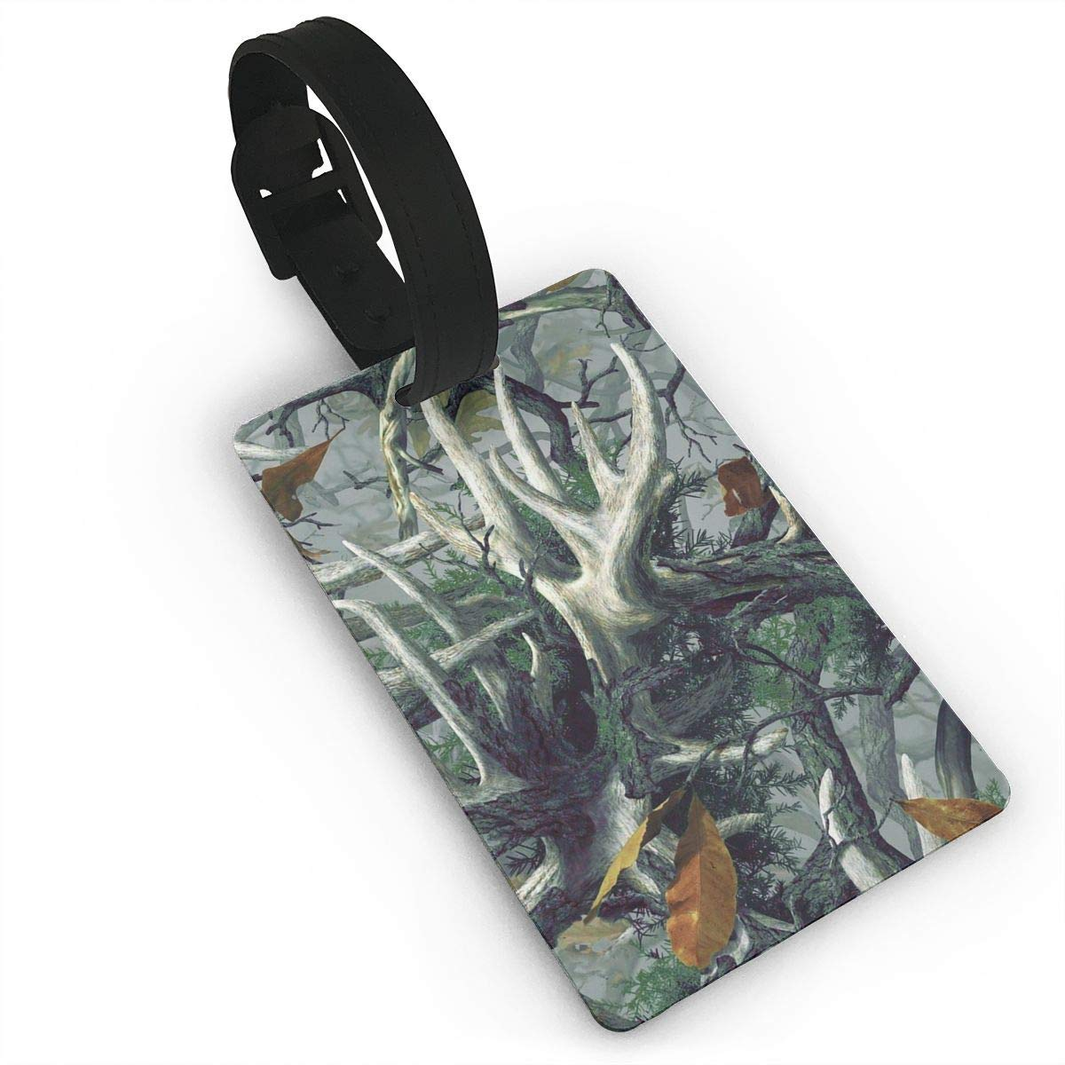 f4e4811d7249 Get Quotations · XINLLPO Realistic Deer Skull Camouflage PVC Luggage Tags  Travel Suitcase Labels Business Card Holder