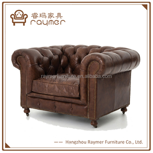Royal tufted Vintage Cigar Leather Chesterfield Armchair with wheels