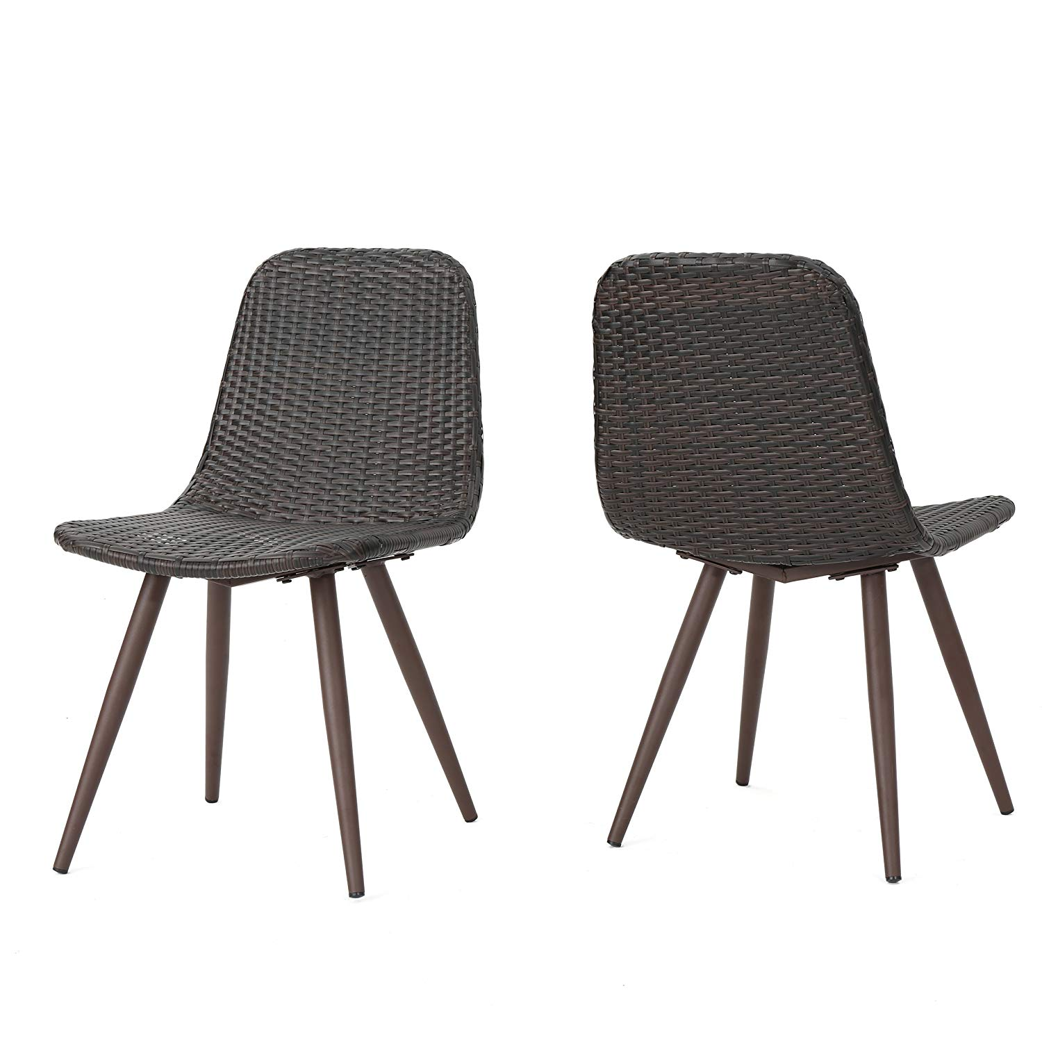 Get Quotations Gilda Outdoor Wicker Dining Chairs With Dark Brown Legs Set Of 2 In