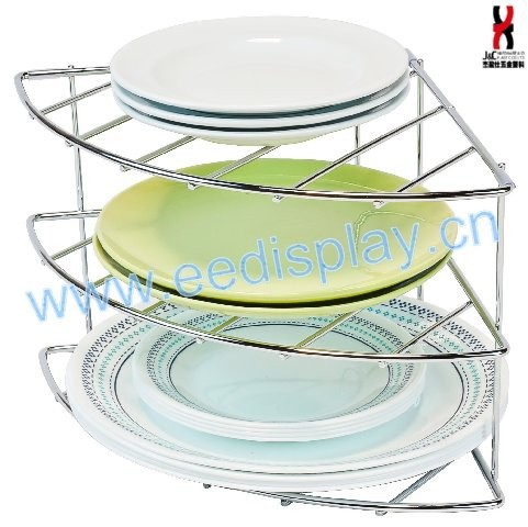 Three-Tier Counter and Cabinet Plate Pan Corner Shelf Organizer