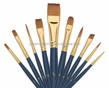 wholesale 10pcs set taklon hair artist paint brushes for