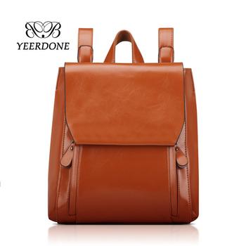 383faf010753 Коричневый из искусственной кожи для мужчин женщин мода стиль гладкой яркий  водонепроницаемый школьный рюкзак