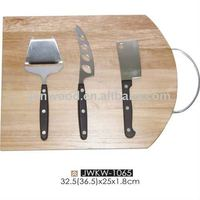 Bamboo square cutting board with knife