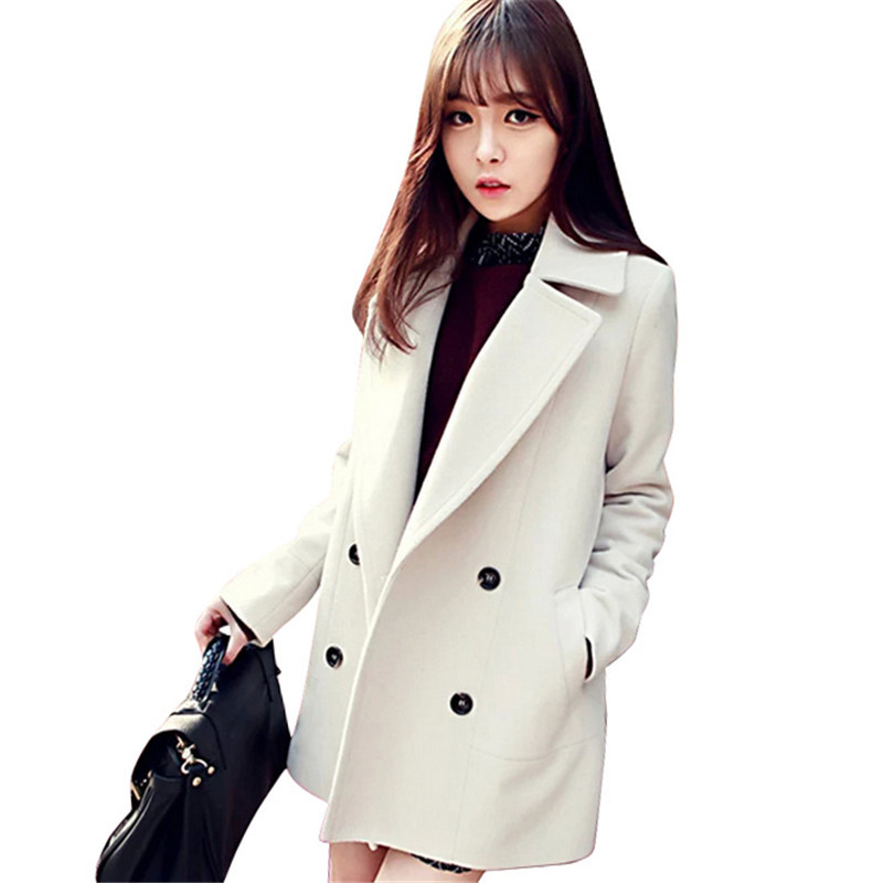 1bb16b476386d Get Quotations · Autumn Winter Trench Coat Women 2015 Europe Long  Windbreaker White Wool Coat Female Slim Coats Casual