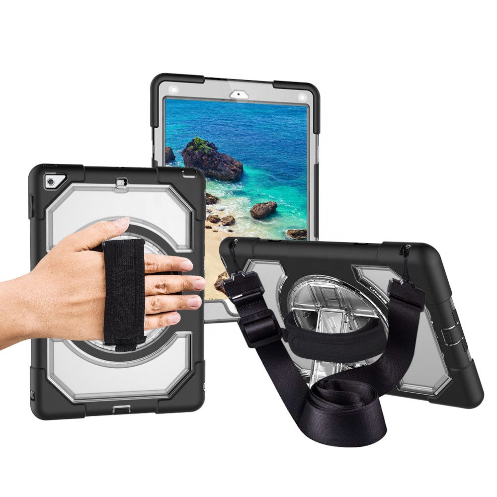 Custom Kickstand Shoulder Hand Strap bumper hybrid shockproof heavy duty tablet cover case for <strong>iPad</strong> 9.7 2017 2018