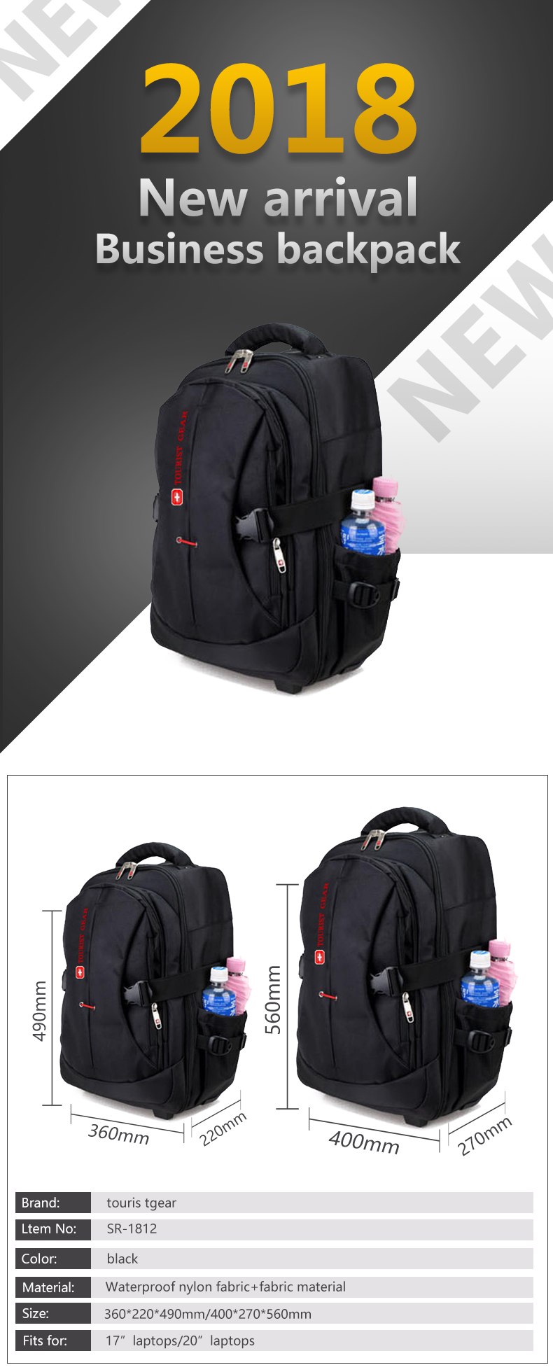 Multi-use executive travel laptop trolley bag rolling wheeled trolley backpack