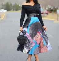 B23540A 2019 Fashion Print women pleated Skirt