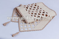 Raffia with cutwork design table runner