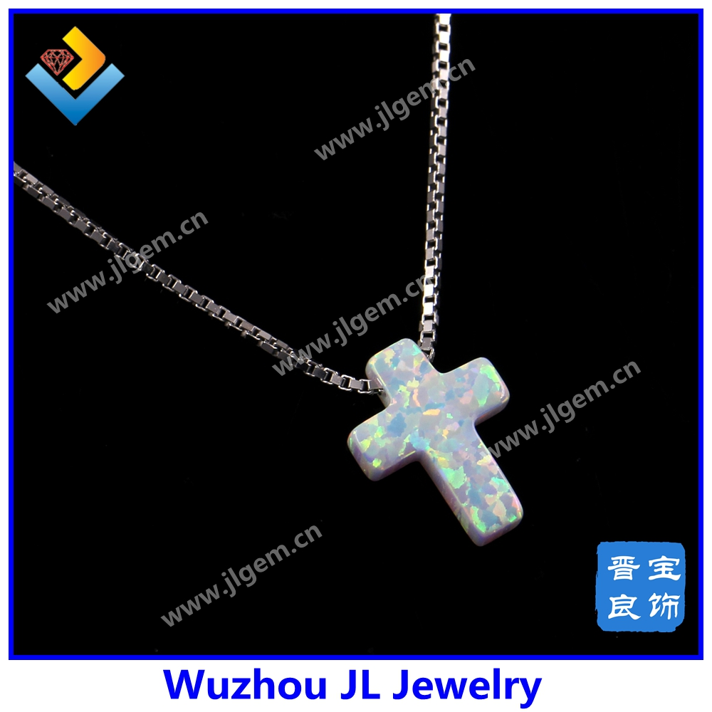 Wholesale Price New Style 9*12mm 925 Silver Synthetic Necklace Cross shape OP17 Pink Opal Pendant Necklace