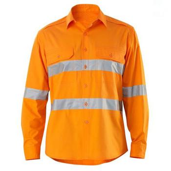 Wholesale Safety Uniform Hi Vis Long Sleeve Orange Reflective Men 100 Cotton Work Shirts