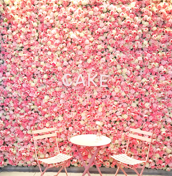 roll up wedding artificial silk rose flower wall backdrop panel for decoration