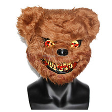 Cheap brown scary teddy bear mask killer bear costume for party fancy dress plastic for sale