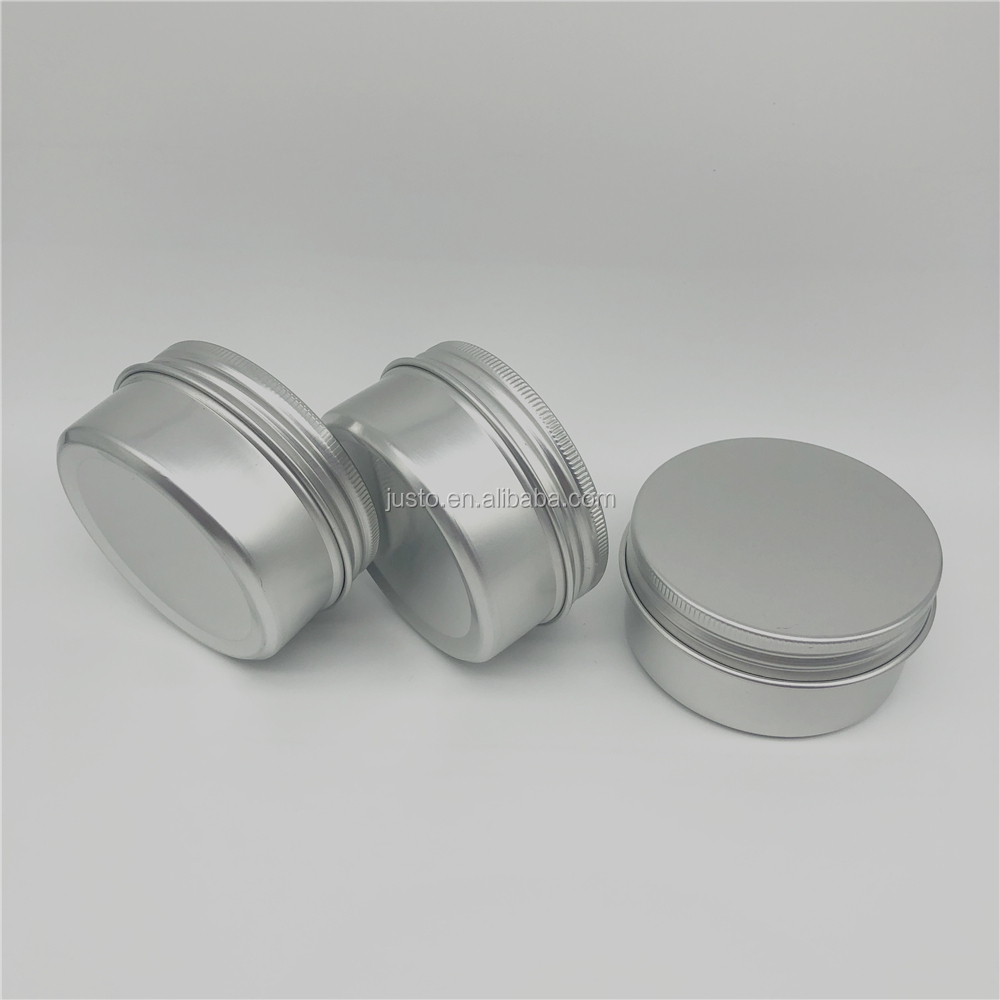 80ml Screw Top Round Aluminum Tin Cans Metal Tin Storage Jar Containers with Screw Cap for Lip Balm Cosmetic Candles Salve